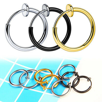 1pc Titanium Steel Round Ear Clip Hoop Allergry Free Fake Earring Non Piercing