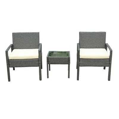 ALEKO Outdoor Rattan Patio Furniture 3 piece Set Grey with Seat Cushioned