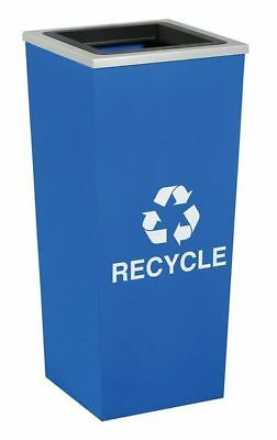 18 gal. Recycling Container Square, Blue Steel & Plastic TOUGH GUY 5UJE7