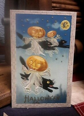 Vintage Halloween Postcard JOL Headed Ghosts Black Cats 1911