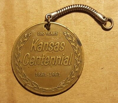 Vintage Centennial Of The State Of Kansas Keychain Key Chain Fob Metal 1861-1961