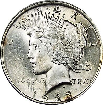 1923 $ Peace silver dollar Gem uncirculated luster .