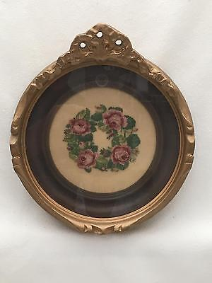 Vintage / Antique Small Round Ornate Gold Gesso Frame w Petit Point Roses