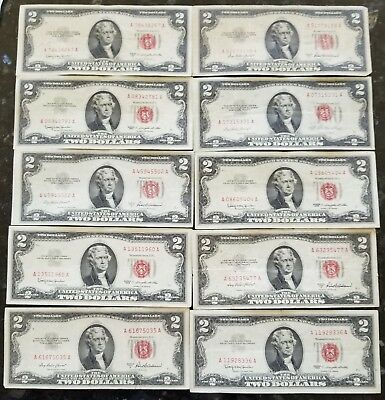 Lot Of (10) 1953 $2 Two Dollar Bills Red Seal No Reserve