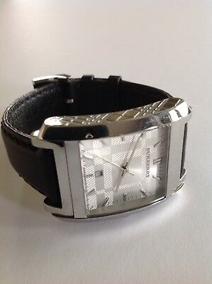 664dcb13caa3 Authentic Burberry Nova Check BL Leather Square Silver Dial BU1570 Watch ~NICE