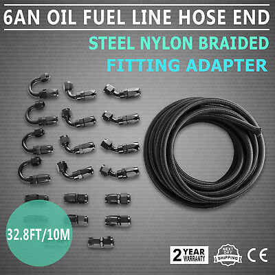 10M An6 Oil Fuel Line Hose End Fitting Kit Light Weight Black Adaptor Kit Newest