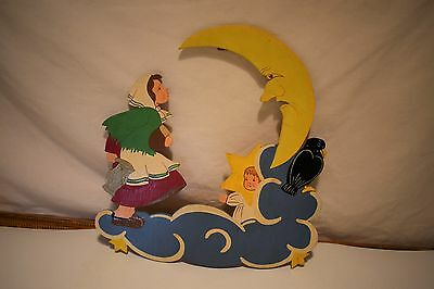 Vintage Hand Made in Germany Wood Wall Plaque Girl Man in Moon Cut Outs