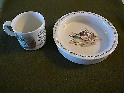 Peter Rabbit's Child's 2 Piece Wedgwood Cup and Bowl, Excellent Condition