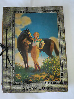 Vintage 40's Scrapbook Album Girl Equestrian with Horse Western Art Picture