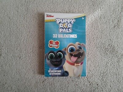 Puppy Dog Pals 32 Valentine's Day Cards and 32 Stickers NIB Ages 3+