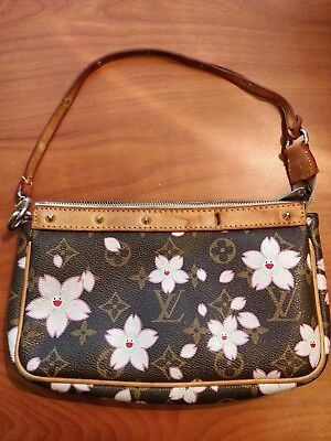 17fa1069553 LOUIS VUITTON Pochette Takashi Murakami Cherry Blossom Monogram Stud Brown  Canva