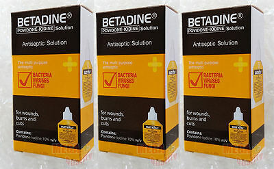 3 x 15 cc. BETADINE POVIDONE IODINE FIRST AID SOLUTION ANTISEPTIC CUTS WOUNDS