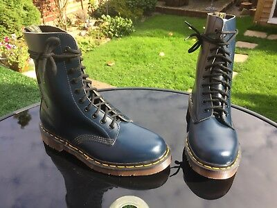 Vintage Dr Martens 1490 blue smooth leather boots UK 6 EU 39 Made in England