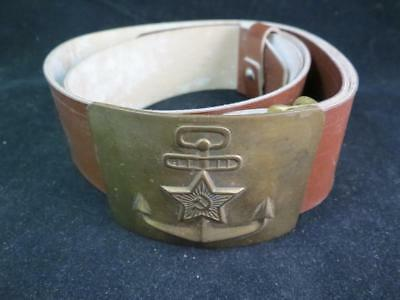Vintage USSR Soviet Union Russian Sailor Navy Belt Buckle & Leather Belt