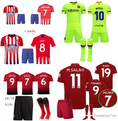 18/19 Football Club Kits Soccer Home Jersey Suit Kids Boys Sportwear +Socks