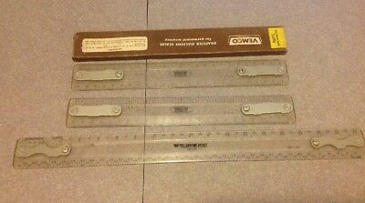 """Lot of Four Drafting Machine Scale Rulers/Vemco & Teledyne Post. 12"""" And 17"""""""