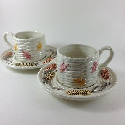 Fitz and Floyd Cup Saucer Demitasse 1990 Fall Harvest Autumn Thanksgiving 2 SETS