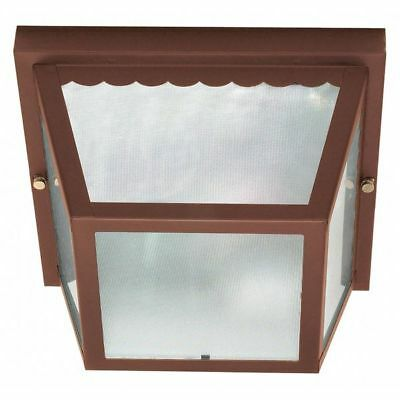 2 Light 10 in. Carport Flush Mount With Textured Frosted Gla NUVO 60-472