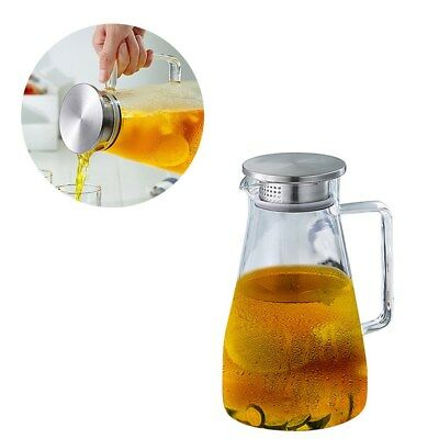 1.8L Glass Pitcher Teapot Kettle Juice Jug Flower Filter Stainless Steel Lid