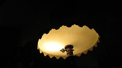 vintage  hanging light fixture 1960s Antiqued brass white awesome!