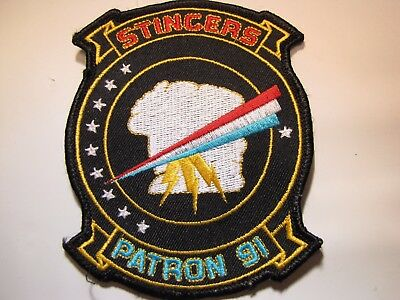 Vintage Original USN Navy Patron 91 Stingers Embroidered Uniform Patch