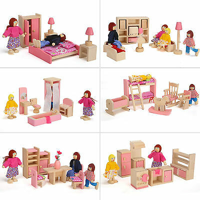 DIY Toy Wooden Role Play Doll House Miniature Family Furniture Set Kids Gift