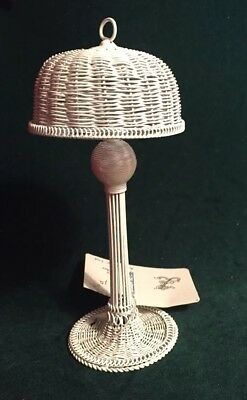 1:12 Scale Vintage White Wire Wicker Floor Lamp - Alice Lacy