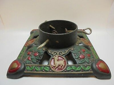 Vintage Hand Painted CAST IRON Christmas TREE STAND Heart Reindeer HOLLY Berry