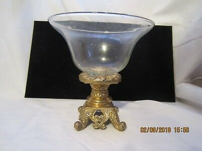 Vintage Metal Brass Base Stand Clear Glass Fruit Bowl Candy Dish