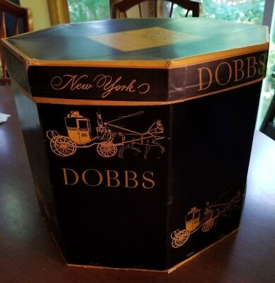 Box Dobbs Hat Cardboard Large Black Vintage New York Fifth Avenue Fedora octagon