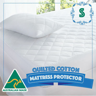 SINGLE Size Bed Cotton Quilted Australian Made Fully Fitted Mattress Protector