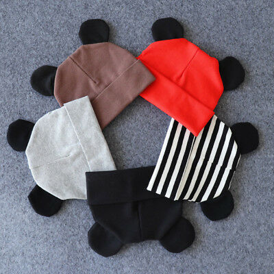 Baby Hats Solid Ear Hat Cotton Knitted Beanies Toddlers Newborn Infant Caps 0-2T