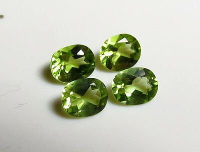 4pc NATURAL PERIDOT 4x5mm OVAL CUT LOOSE GEMSTONE LOTS cut from natural rough