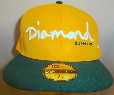 Diamond Supply Co Cap OG Script Fitted Hat New Era 59Fifty Orange Diamond 1998