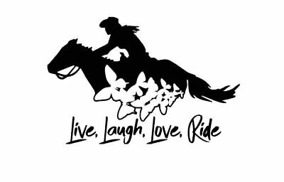 Live Love Laugh Ride Barrel Racing Horse Car Decal Multiple