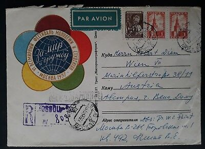 RARE 1957 Soviet Union World Youth Festival Regtd Cover ties 3 stamps cnc Moscow