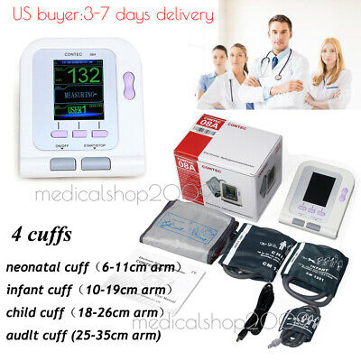 USA Stock,CONTEC Digital LCD Blood Pressure Monitor,Color LCD Display 4 cuffs