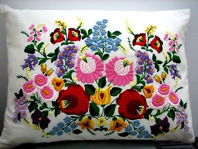 Hand embroidered Hungarian FOLK EMBROIDERY FLORAL PILLOW COVER Kalocsa Hungary