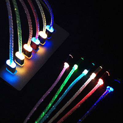 1M Charger Cable LED Light-up Micro Lightning USB Cable For Android iPhone