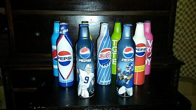Lot of 9    2009 Pepsi Cola Aluminum Limited Edition 16oz Collector Bottles.FULL