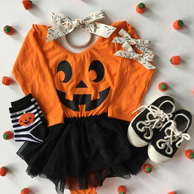 US Newborn Baby Girl Tutu Dress Romper Bodysuit Halloween Clothes Outfit Costume