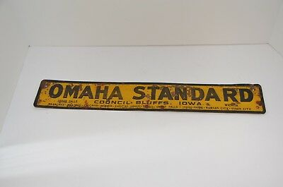 Vintage OMAHA STANDARD SIGN Farm Truck Bed Box Co., Very Good Condition.