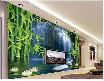 3D Bamboo Waterfall Self-adhesive TV Background Mural Wallpaper Wall Decal