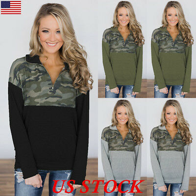 Women Camo Long Sleeve Blouse Top Ladies Zip V Neck Sweatshirt Shirt Hoodies USA