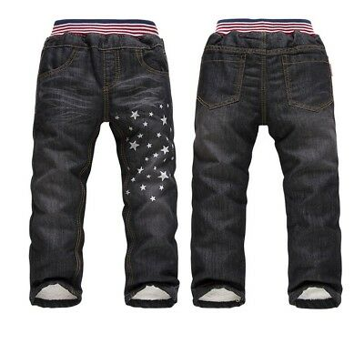 Boys Girls Winter Warm Denim Jeans Thicken Fleece Kids Pants Children Trousers