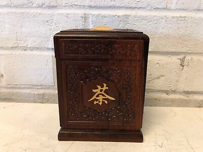 Vintage Chinese Wooden Carved Decorative Tea Caddy