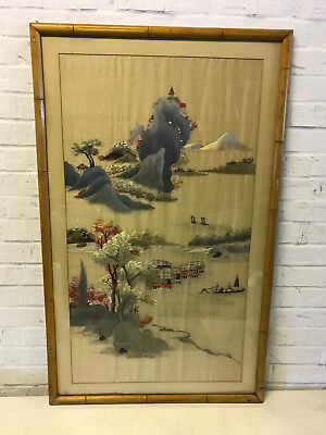 Vintage Antique Asian Chinese or Japanese Silk Embroidered Textile Landscape