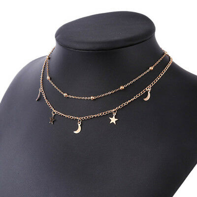 Moon And Star Silver Gold Necklace Chain Jewellery Pendant Girls Women Choker H1