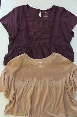 Lot Of 2 Sonoma Womens Plus 1X Short Sleeve Knit Tops