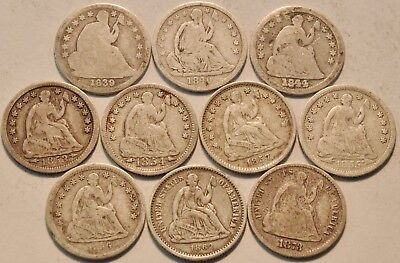 Lot of (10) Seated Liberty Half Dimes 1839 O 1840 1844 1855 1862 Silver H10C